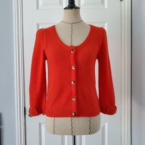 Anthro Monogram Red Cashmere Cardigan
